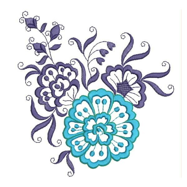 Blue Flower Embroidery Designs Embroideryshristi