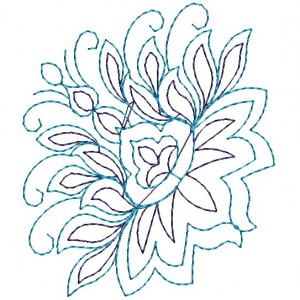 Nice Blue Work Embroidery Flower