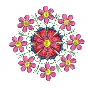 Flower Embroidery Designs Circle