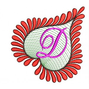 Heart Alphabets D Embroidery Design