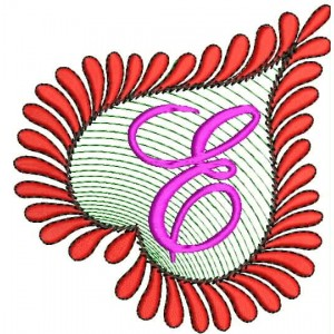 Heart Alphabets E Embroidery Design