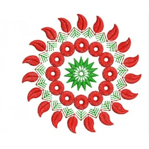 Red Flora Embroidery Desings 1