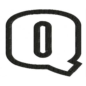 News Outline Embroidery font Q