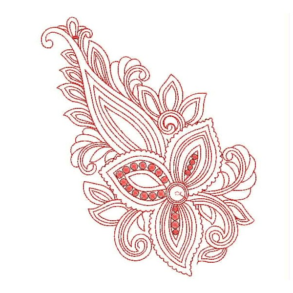 Red outline Embroidery Designs - EmbroideryShristi