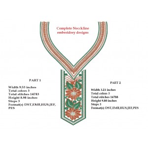 Split embroidery Neckline Designs