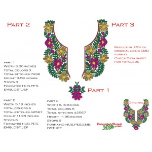 Split Neckline Embroidery Designs 1082