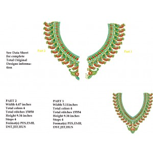 Split 6x10 Peacock Neckline Embroidery designs 4