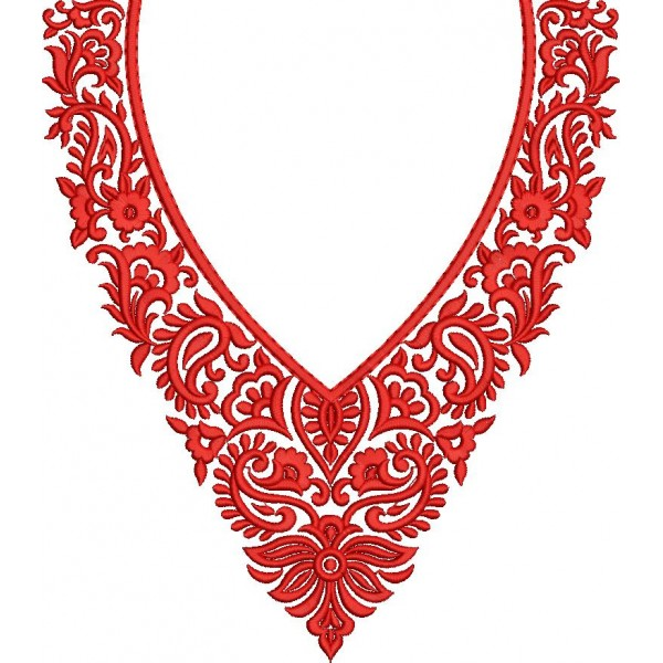 Small Red Neckline Designs - EmbroideryShristi