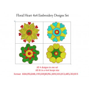 Floral Heart 4x4 Embroidery Designs Set
