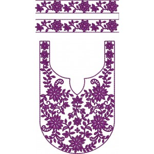 U Purple Neckline Embroidery Designs