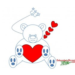 Outline Valentine Teddy bear Clipart