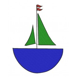 Kids Boat Embroidery Design