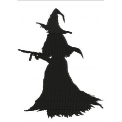 Witch With Machine Gun Silhouette Embroidery