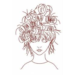 Outline Beautiful Lady hairstyle Design