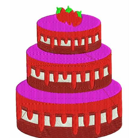 Party Fruits Cake Embroidery Design