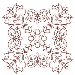 Redwork Outline Block Embroidery Design