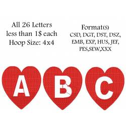 Heart Alpha Full Set Embroidery Designs