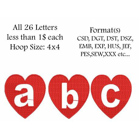 Heart Small Alpha Full Set Embroidery Design