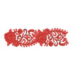 Red Floral Embroidery Border Design