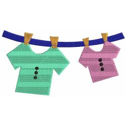 Kids Hanging Clothes Embroidery Design