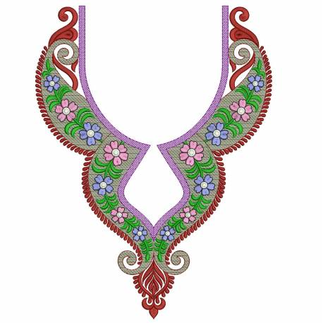 Neckline Machine Embroidery Design
