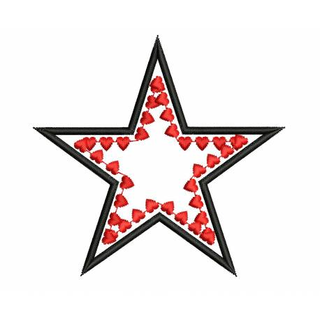 Heart Star Embroidery Design