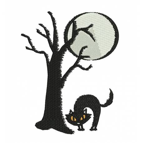 Halloween Cat Embroidery Design