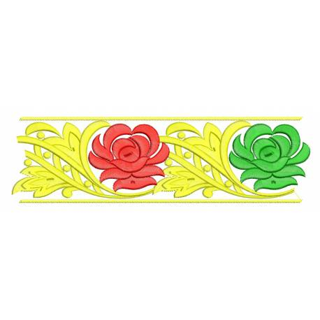 Flower Embroidery Border Design