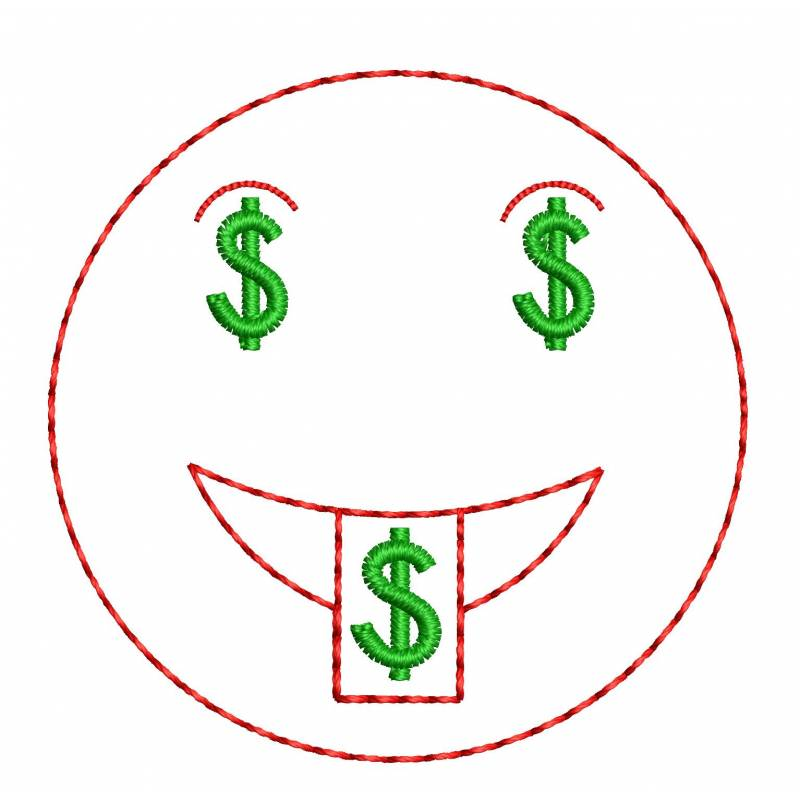 Dollar Money Emoji Face Smily Embroidery Design