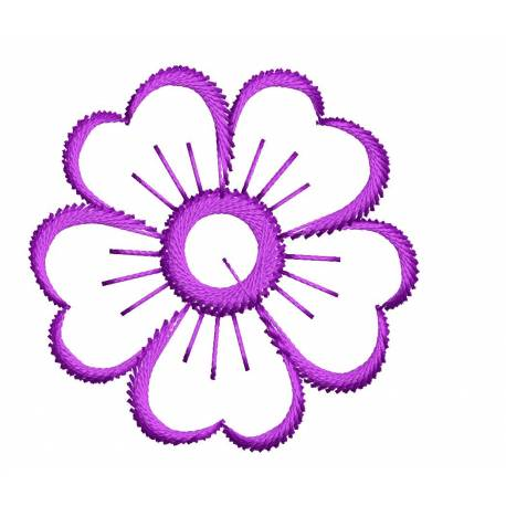 2X2 Outline Embroidery Flower Design