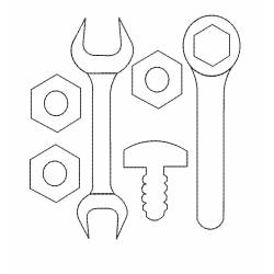 Nut Wrench and Bolt Tools Embroidery Design