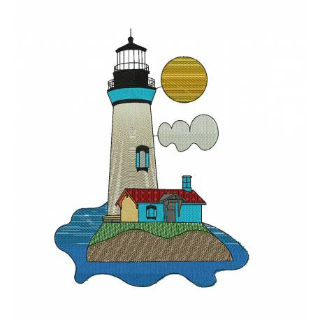 Light House Embroidery Design