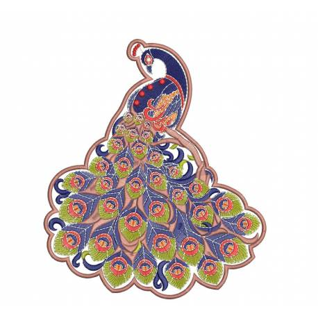 Peacock Machine Embroidery Design