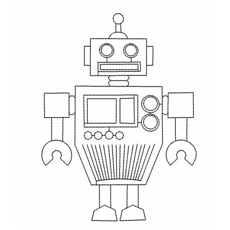 Digital Retro Outline Robot Machine Embroidery Design