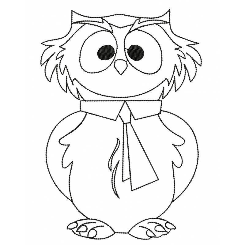 Owl Embroidery Outline Design