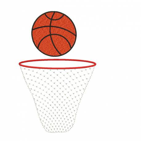 Basketball With Net Embroidery Design For Machine