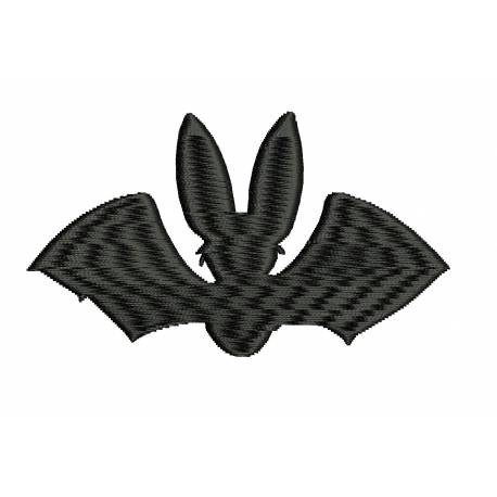 Black Bat Silhouette Embroidery Design