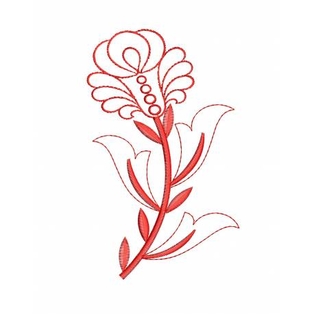 Valentine Red Flower Outline Embroidery