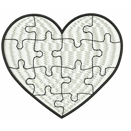 Heart Puzzle Embroidery Design