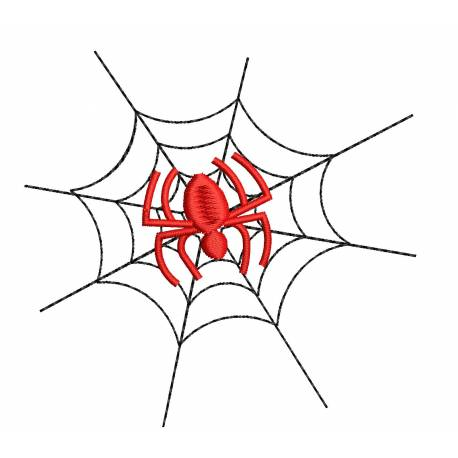 Halloween Spider With Web Embroidery Design