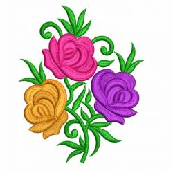 Multi Color Rose Flower Embroidery Design 4x4