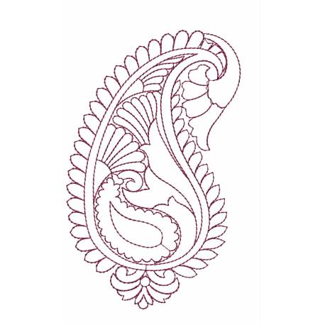 Outline Paisley Embroidery 5x7
