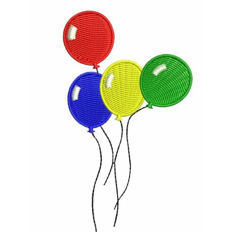 Flying Balloons Machine Embroidery Design