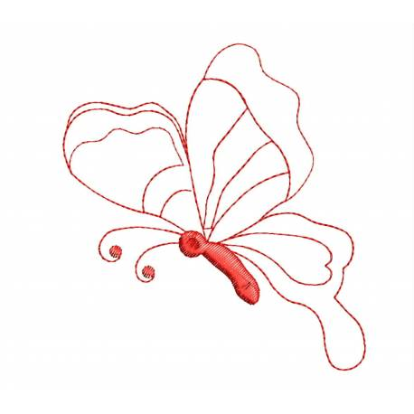 Freebie Butterfly Red Outlines Embroidery Design