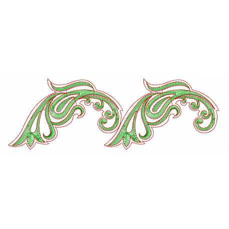 Freebie Green Outline Embroidery Border