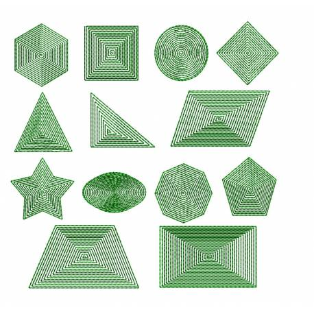 Math Geometric Filled Shapes For Embroidery Machine