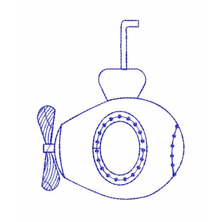 Submarine Outline Embroidery Design