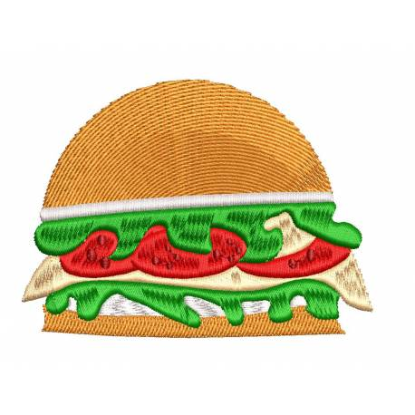 Vegetable Burger Embroidery Design