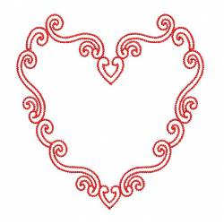 Heart Designed Red Outline Embroidery
