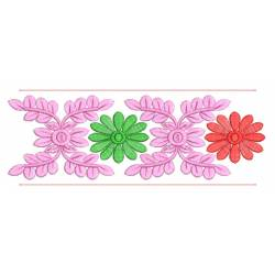 Seamless Flower Embroidery Border Design